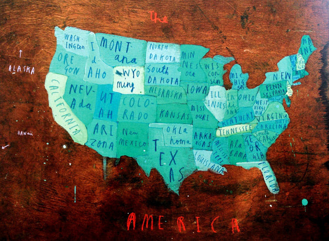 A Map of the World - Places in America door Oliver Jeffers